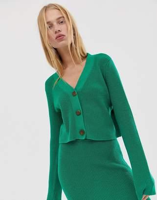 Asos Design DESIGN two-piece v neck crop chunky cardigan in eco yarn