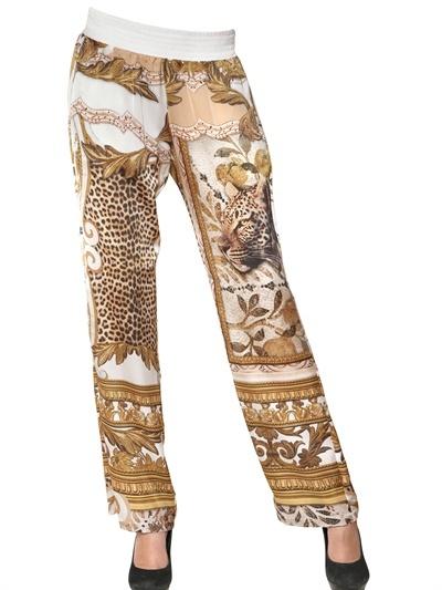 Just Cavalli Mythos Print Light Satin Trousers