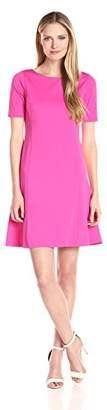 Ellen Tracy Women's Elbow Sleeve Flounce Dress