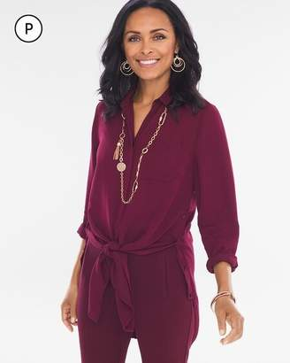 Chico's Chicos Petite Button Side Tie-Front Shirt