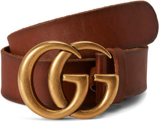 Gucci Double G Gold Buckle Leather Belt 1.5 Width Brown