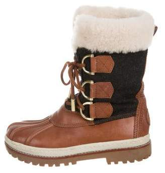 81f2a0346abbc Tory Burch Shearling-Accented Mid-Calf Boots