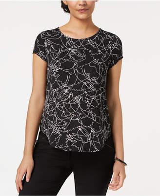 Alfani Petite Printed Round-Hem T-Shirt