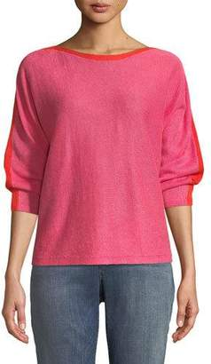 Eileen Fisher Colorblock Linen Long-Sleeve Sweater, Plus Size