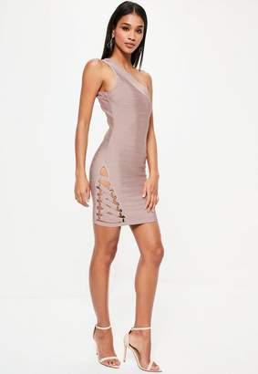 Missguided Purple Bandage One Shoulder Bodycon Dress