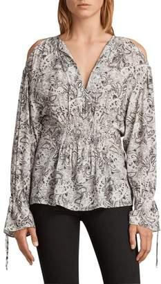 AllSaints Lavete Paisley Cold Shoulder Top