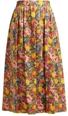 Marni Floral Print Cotton Poplin Midi Skirt - Womens - Pink Multi