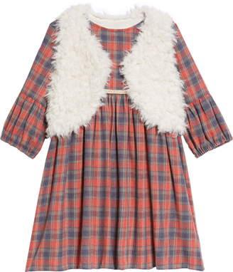 5d5117204 Pippa & Julie Plaid Dress & Faux Fur Vest Set