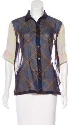 Dries Van Noten Sheer Button-Up Blouse