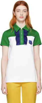 Prada White and Green Zip Polo