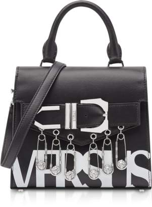 Versace Versus Black/Optic White Leather Versus Vintage Logo Iconic Satchel Bag w/Buckle and Safety Pins
