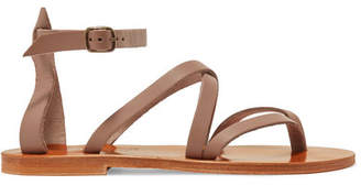K Jacques St Tropez Fusain Leather Sandals - Taupe