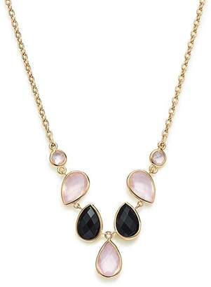 "Bloomingdale's Rose Quartz & Onyx Necklace in 14K Yellow Gold, 18"" - 100% Exclusive"