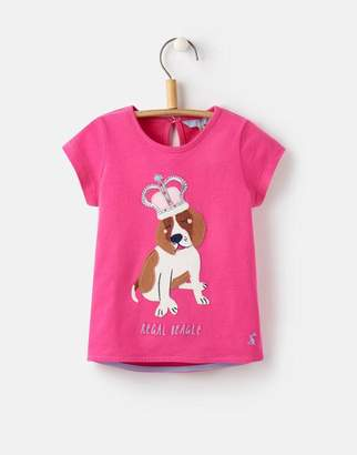 Joules Bright Pink Dog Maggie Applique T-Shirt 1-6yr