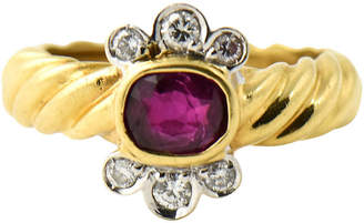 One Kings Lane Vintage Italian Gold Ruby & Diamond Ring - Owl's Roost Antiques