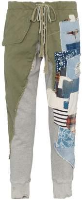 Greg Lauren patchwork slim leg cotton track pants