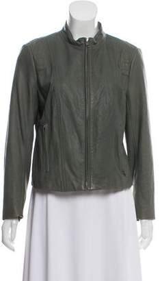Theory Mock Collar Leather Jacket