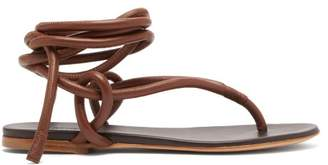 Jil Sander Wraparound Ankle Strap Leather Sandals - Womens - Tan