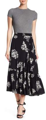 Abound Floral Midi Faux Wrap Skirt