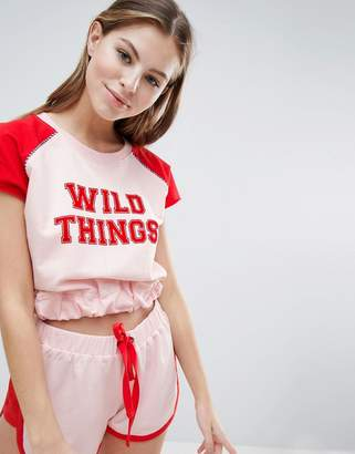 Asos DESIGN Lounge Wild Things Raglan Top