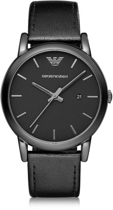 Emporio Armani Polished Black Stainless Steel Men's Watch w/Smooth Leather Strap