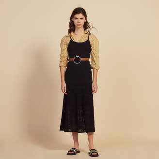 Sandro Long Knit And Crochet Dress