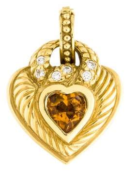 18K Citrine & Diamond Heart Pendant