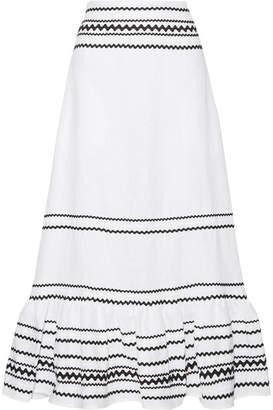 Lisa Marie Fernandez Fiesta Rickrack-trimmed Ruffled Linen Maxi Skirt - White