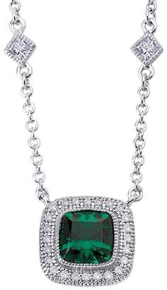 Lafonn Platinum Plated Sterling Silver Bezel Set Created Emerald & Simulated Diamond Pave Halo Square Pendant Necklace