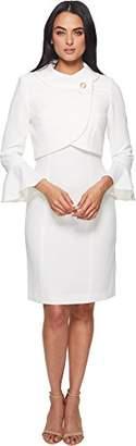Tahari by Arthur S. Levine Women's Crepe Jacket Dress with Envelope Button Collar