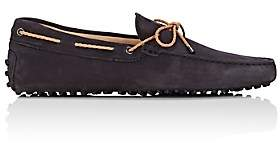 Tod's MEN'S BRAIDED-TIE SUEDE DRIVERS - NAVY SIZE 6 M