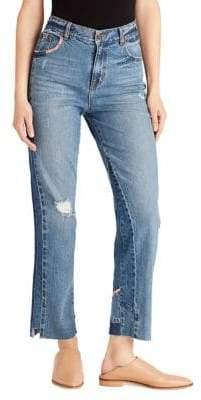 Ella Moss Olea High-Waist Straight-Leg Ankle Jeans