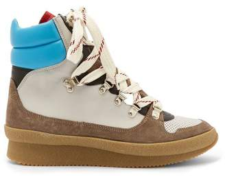 Isabel Marant Brendta Leather And Suede Boots - Womens - Grey Multi