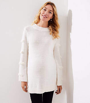 LOFT Maternity Abstract Fringe Sweater