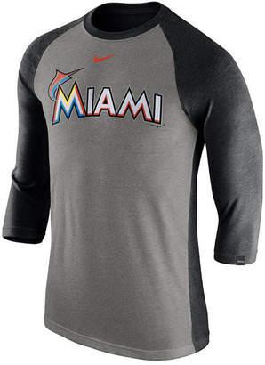 Nike Men's Miami Marlins Tri-Blend Three-Quarter Raglan T-shirt