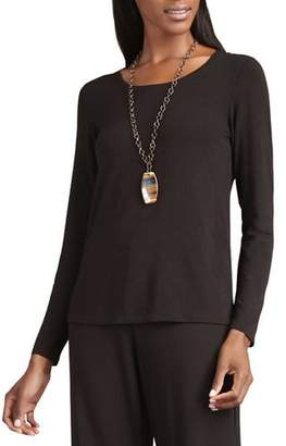 Eileen Fisher Long-Sleeve Slim-Jersey Tee, Chocolate, Petite