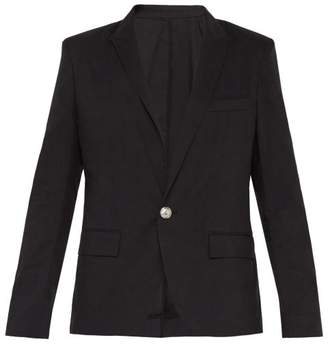 Balmain Single Breasted Cotton Blend Blazer - Mens - Black