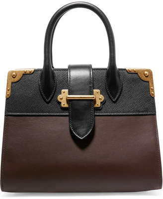 Prada Cahier Large Two-tone Leather Tote