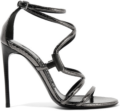 TOM FORD - Embellished Glossed-ayers Sandals - Anthracite
