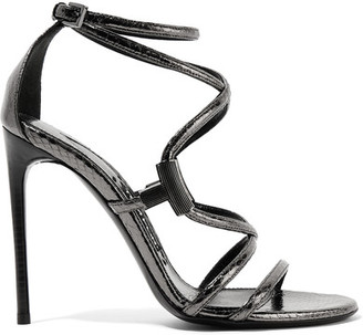 TOM FORD - Embellished Glossed-ayers Sandals - Anthracite $1,490 thestylecure.com