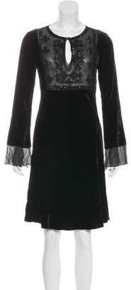 Blumarine Velvet Silk-Paneled Dress