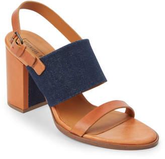 Veronique Branquinho Leather & Denim Block Heel Slingback Sandals