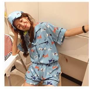 DoSquTiE Plus Size 2018 Women Casual Cartoon Printed Short Sleeve Pajamas 3  Pieces Sets hot Shorts d20148be8
