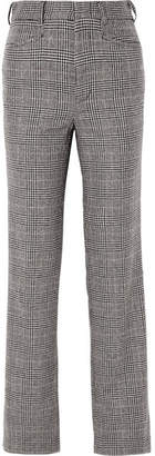 R 13 Colleen Prince Of Wales Checked Cotton And Cashmere-blend Straight-leg Pants - Gray