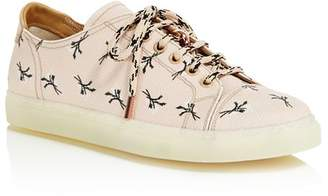 Pairs in Paris Women's Floral Print Leather Low Top Lace Up Sneakers - 100% Exclusive