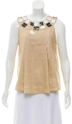 Magaschoni Embellished Linen Top