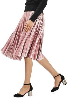 Topshop Velvet Pleated Midi Skirt $100 thestylecure.com