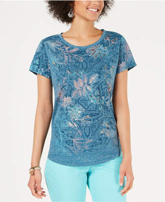 Style&Co. Style & Co Petite Printed Scoop-Neck T-Shirt