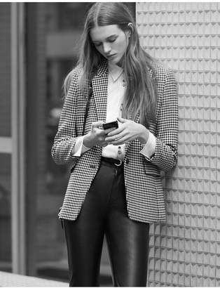 Sandro Houndstooth Check Tailored Jacket