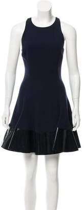 Cushnie et Ochs Patent Leather-Trimmed Mini Dress